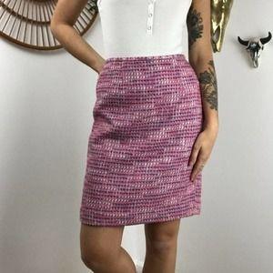 Josephine Chaus Petite Pink Tweed Pencil Skirt